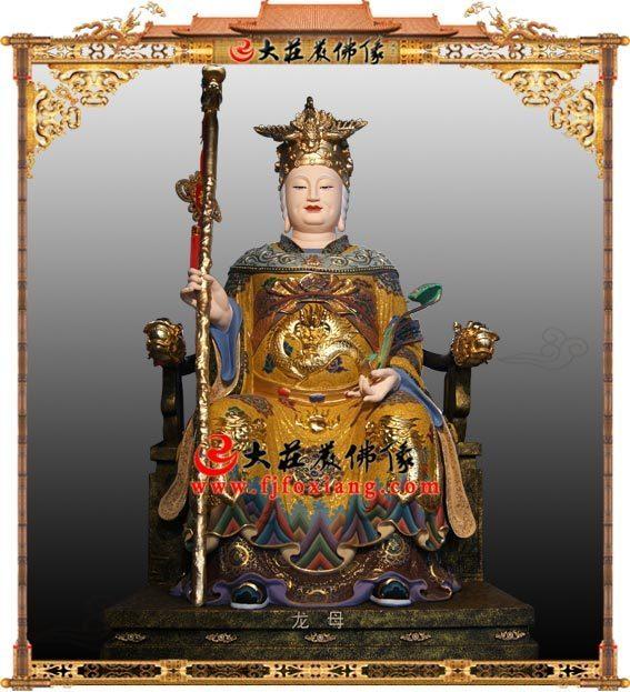 龙母庙龙母娘娘铜雕彩绘塑像 道教神像雕塑定制