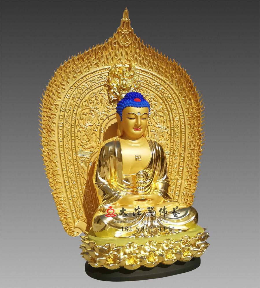 铜雕三宝佛之释迦牟尼佛侧面佛像