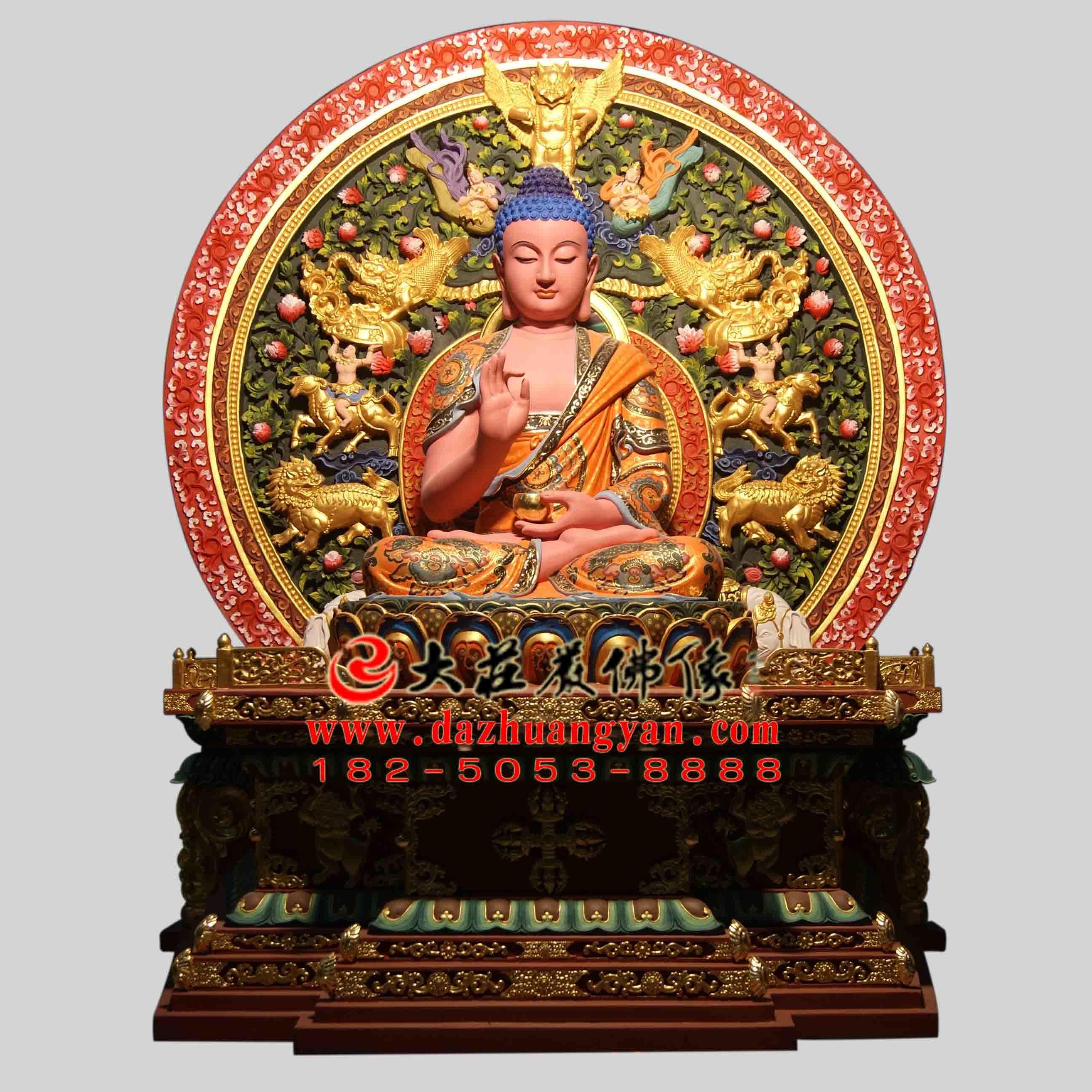 五方佛西方阿弥陀佛生漆脱胎彩绘佛像 接引佛无量寿佛雕塑定制