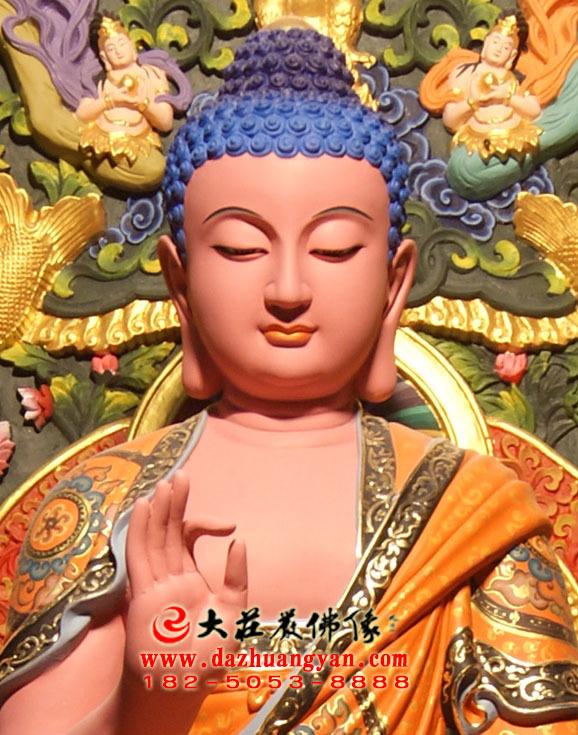 五方佛之西方阿弥陀佛生漆脱胎彩绘佛像特写