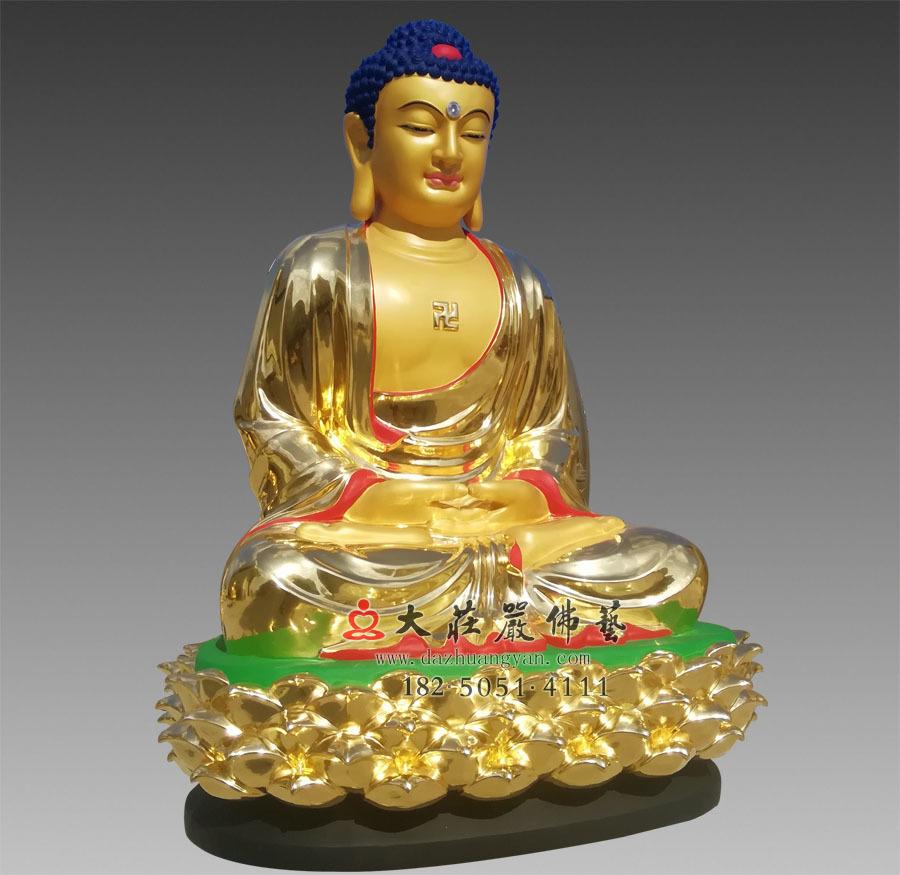 铜雕贴金五方佛之阿弥陀佛侧面像