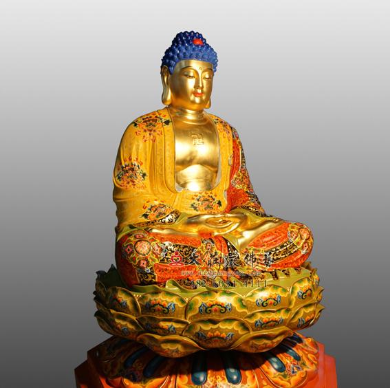 释迦牟尼佛侧面彩绘贴金佛像