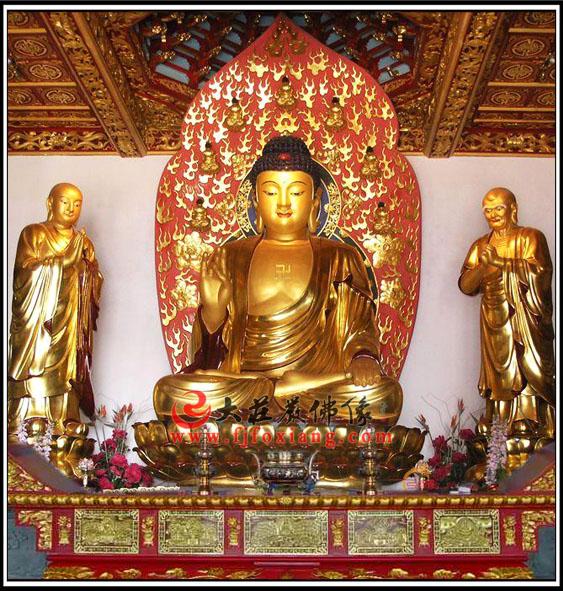 一佛二弟子铜雕贴金佛像 佛祖释迦牟尼佛弟子迦叶尊者阿难尊者雕塑