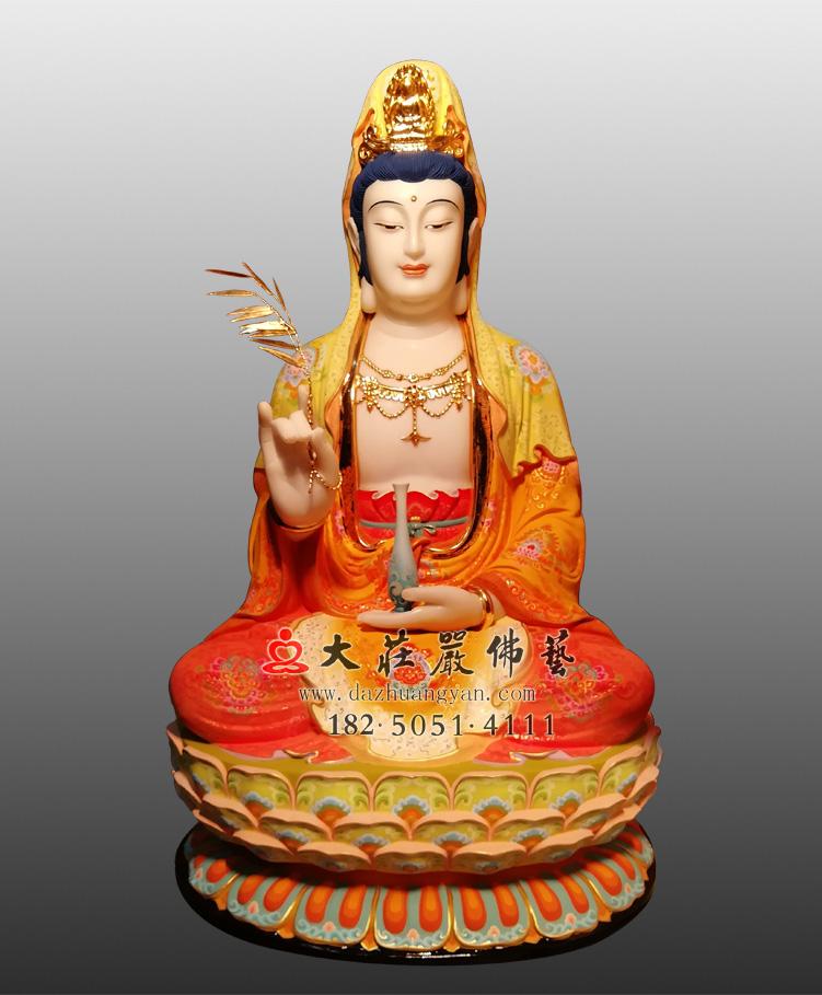 观世音菩萨彩绘佛像 观音大士雕塑 西方三圣观音佛像定制厂家