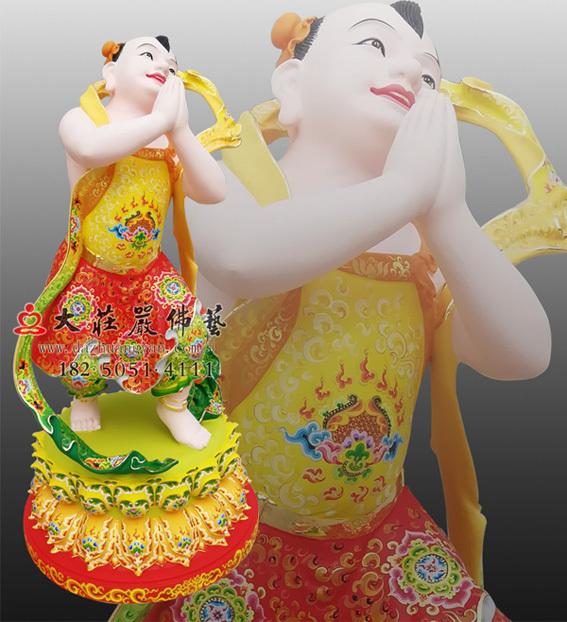 善财童子彩绘塑像 观音龙女童子佛像雕塑