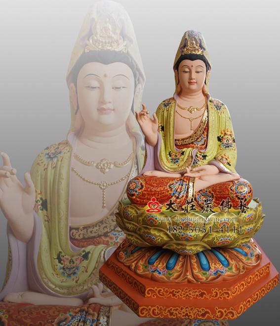 观世音菩萨彩绘佛像 西方三圣观音雕塑