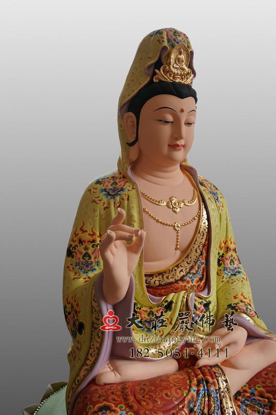 彩绘描金观世音菩萨侧面佛像