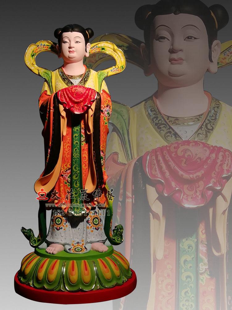 龙女善财童子彩绘塑像