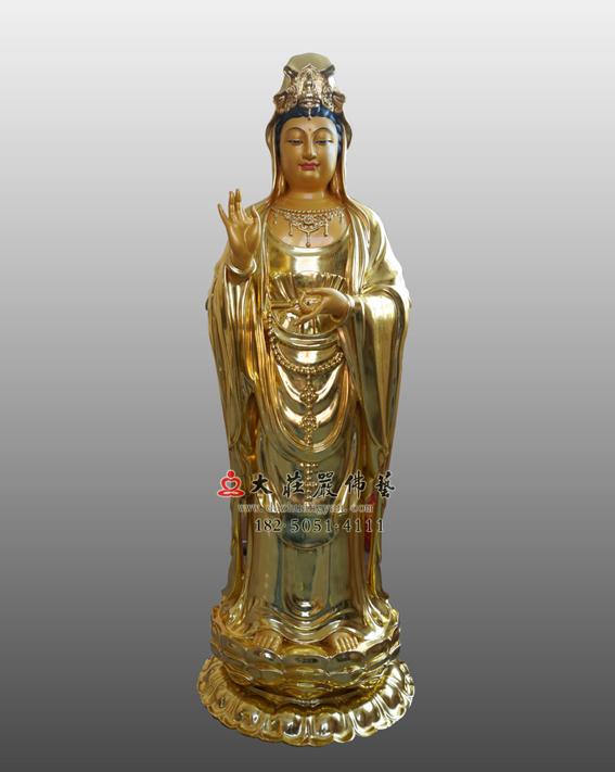 铜雕贴金观世音菩萨塑像 西方三圣观音雕塑 观音佛像订制厂家
