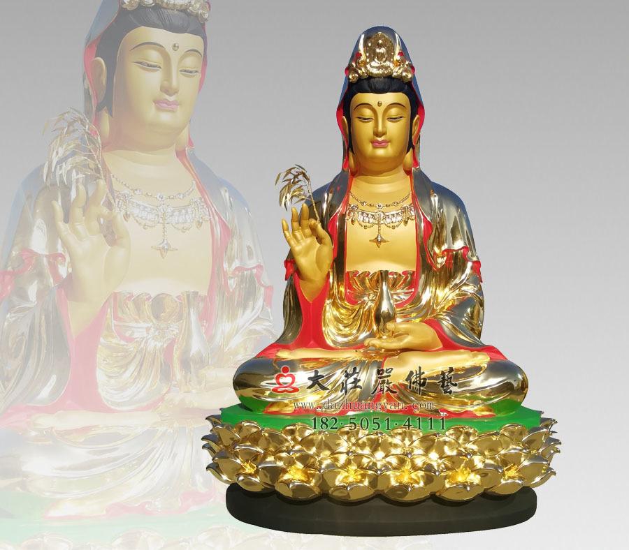 观音佛像订制 西方三圣观世音菩萨彩绘贴金雕塑