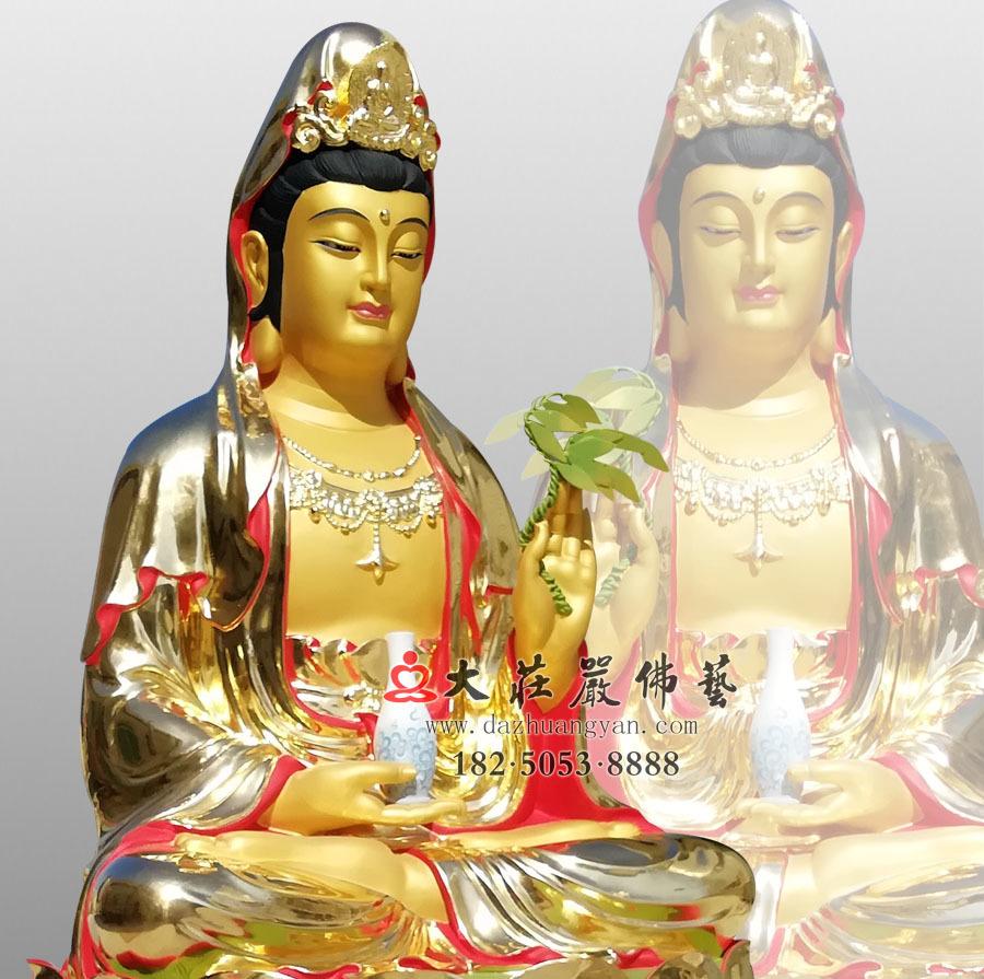 铜雕观世音菩萨侧面佛像