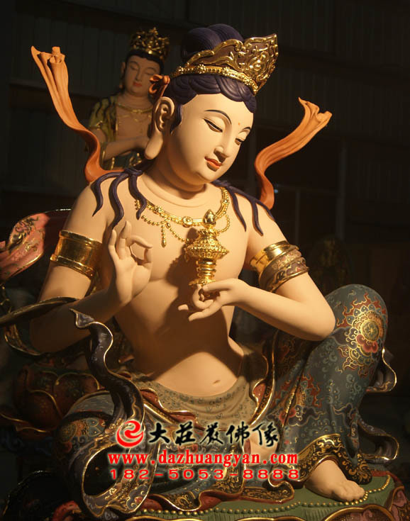 生漆脱胎供养菩萨彩绘佛像右侧近照