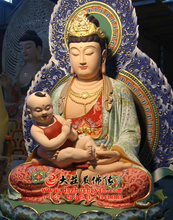 送子观音坐莲生漆脱胎彩绘佛像侧面近照