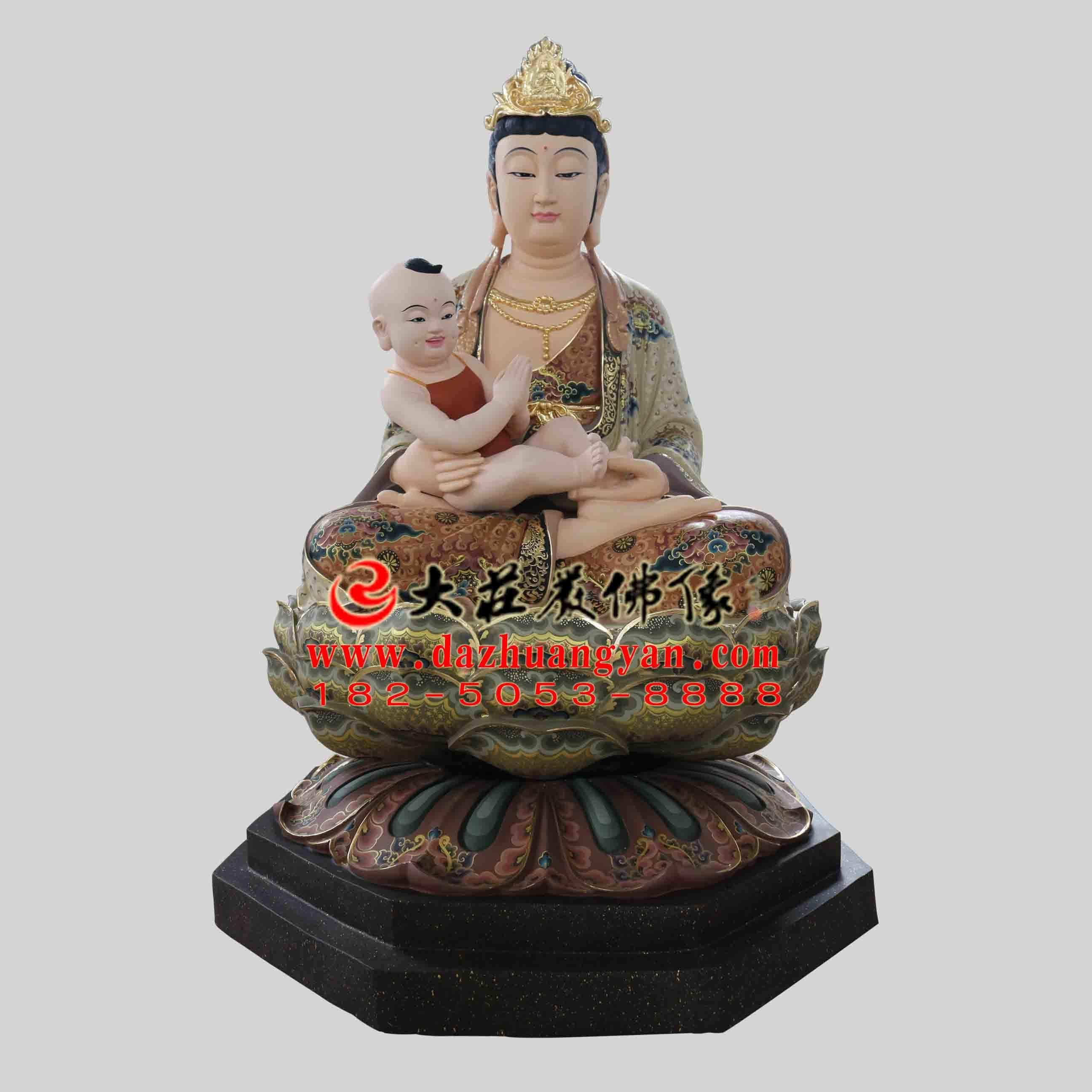 生漆脱胎送子观音彩绘佛像 送子娘娘雕塑 观音菩萨佛像定制