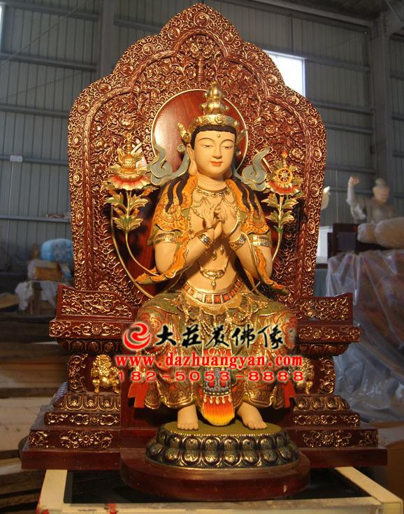天宫弥勒铜雕彩绘佛像右侧照
