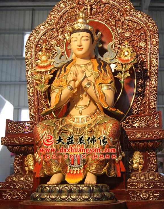 天宫弥勒铜雕彩绘佛像左侧近照