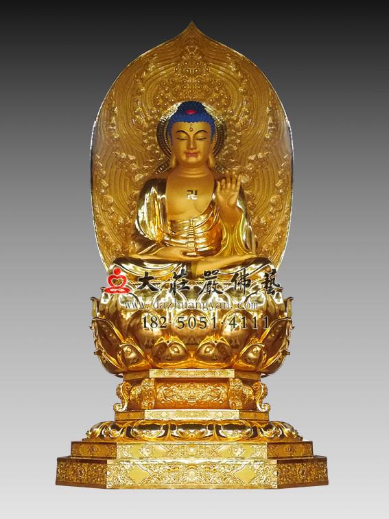 药师佛贴金铜雕佛像 东方三圣药师如来雕塑定制
