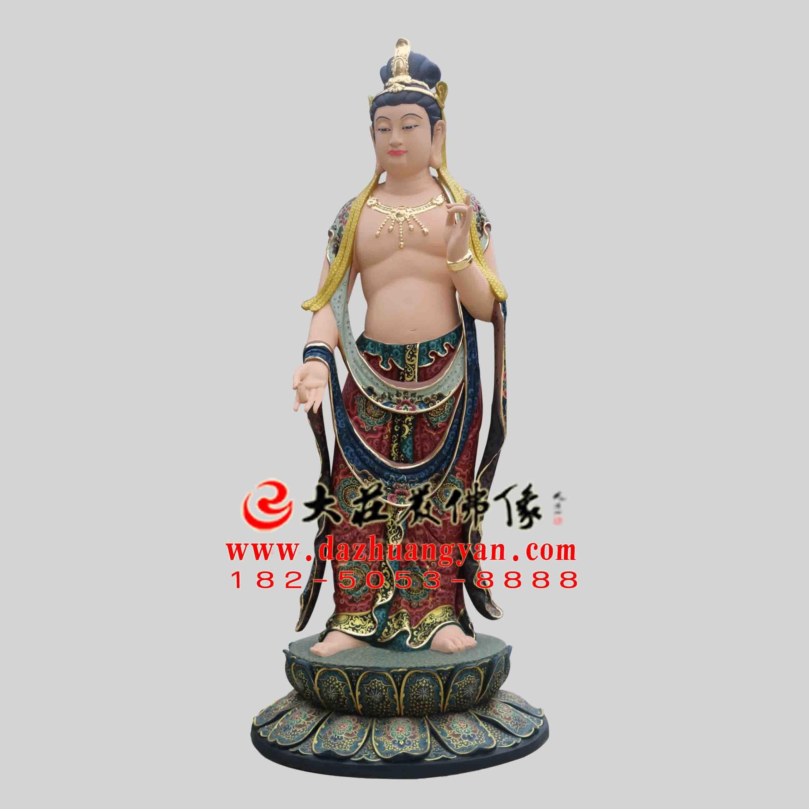 彩绘描金药师佛左协持日光菩萨塑像 东方三圣佛像定制