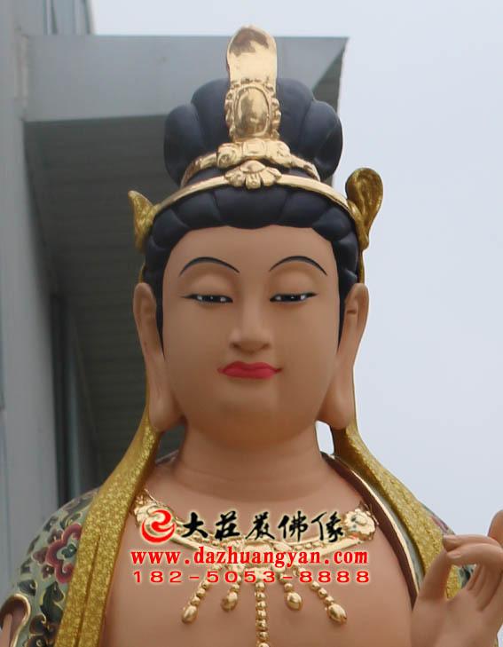 彩绘描金生漆脱胎药师佛左协持日光菩萨塑像特写