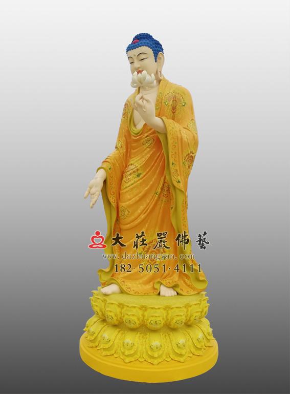 彩绘描金接引佛侧面佛像