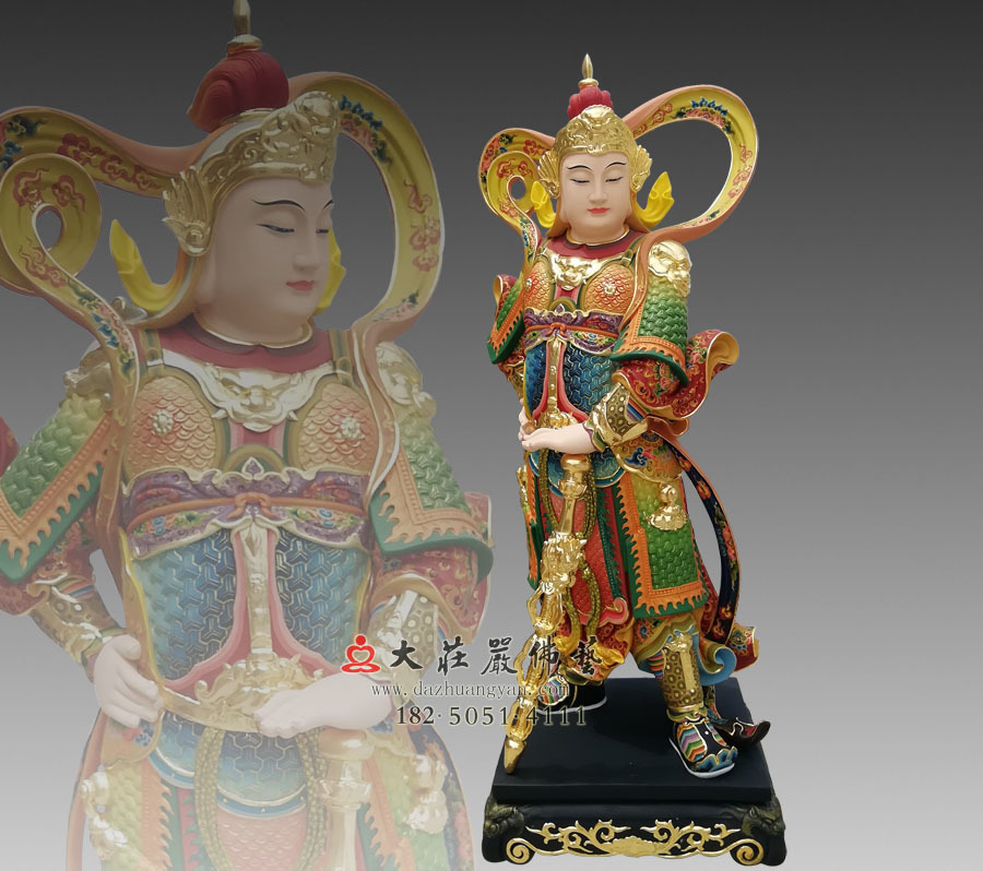 铜雕韦驮菩萨彩绘像