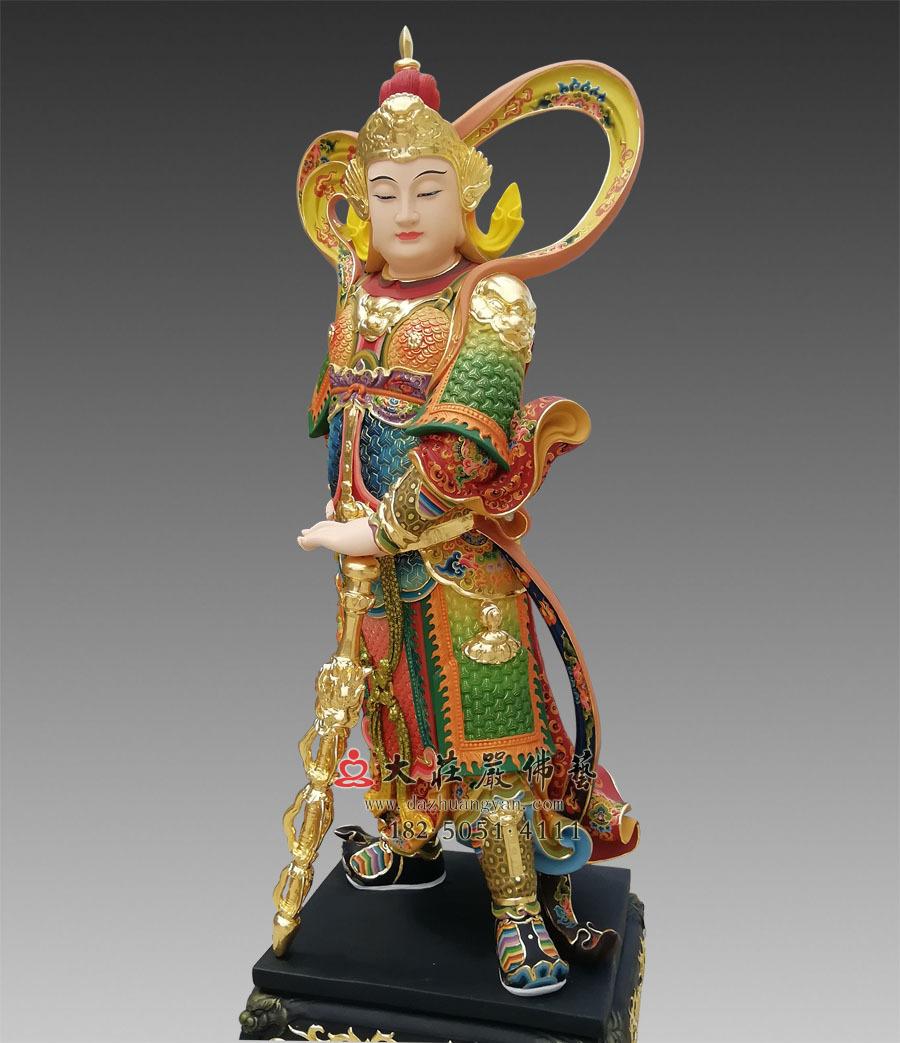 彩绘韦驮菩萨侧面像