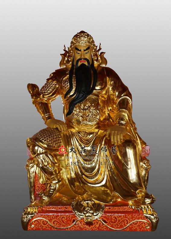 铜雕关公贴金神像
