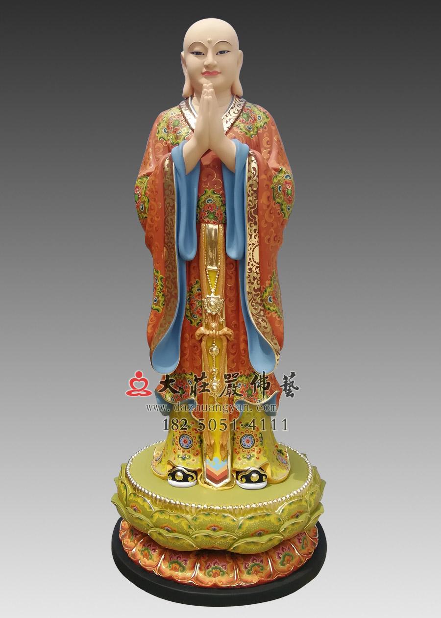彩绘道明佛像定制 地藏王菩萨左右护法闵公道明铜像雕塑