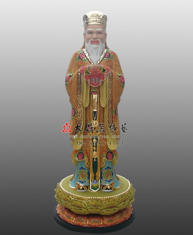 闵公彩绘铜像 地藏王菩萨右胁侍雕塑定制