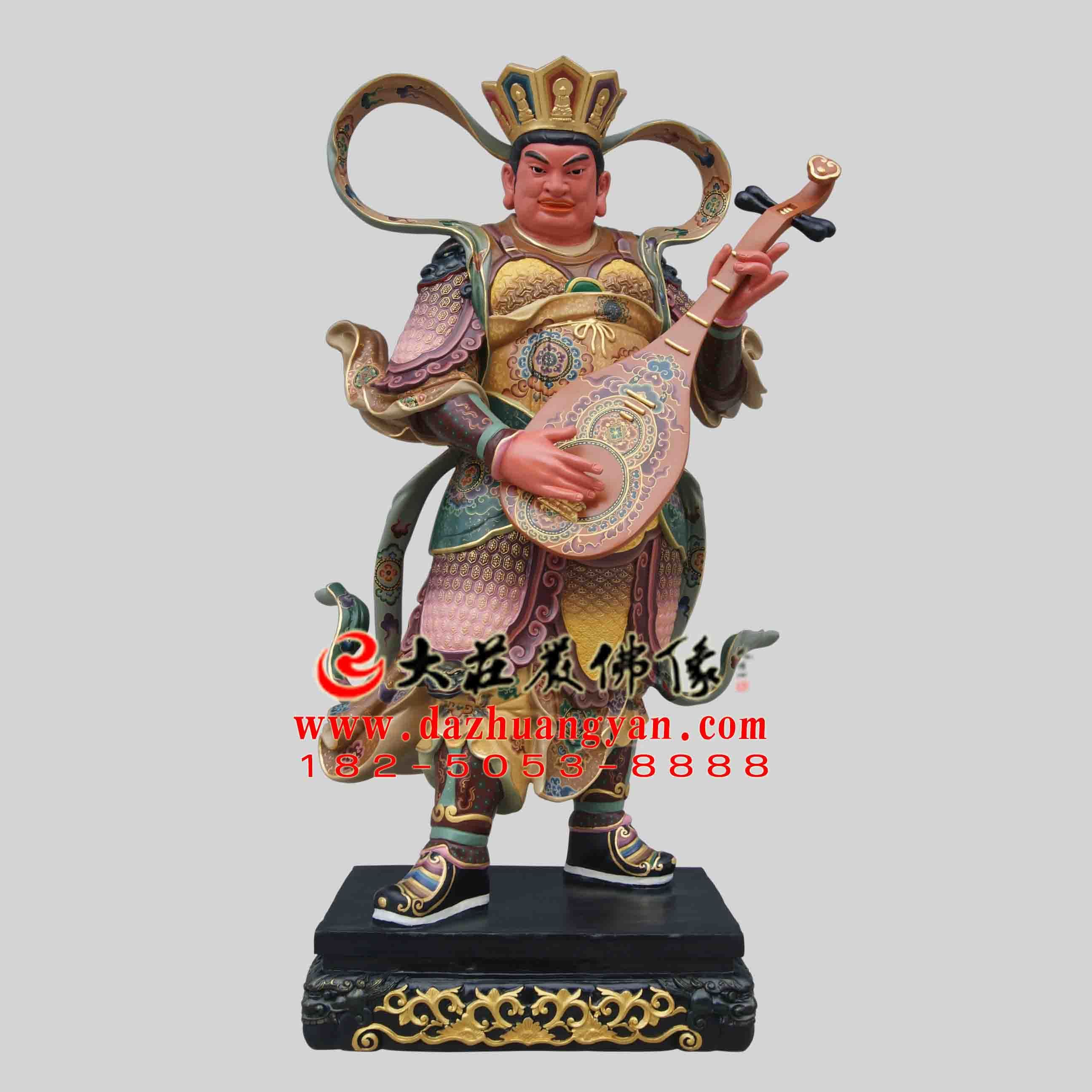 彩绘描金生漆脱胎东方持国天王塑像 佛教护法神四大天王雕塑定制