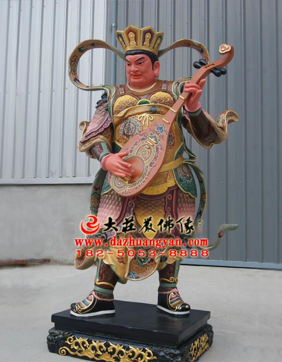 生漆脱胎东持国天王彩绘塑像侧面照