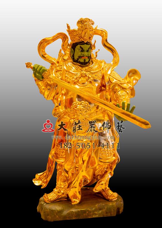佛教四大天王 南方增长天王贴金铜佛像 护法神佛像雕塑