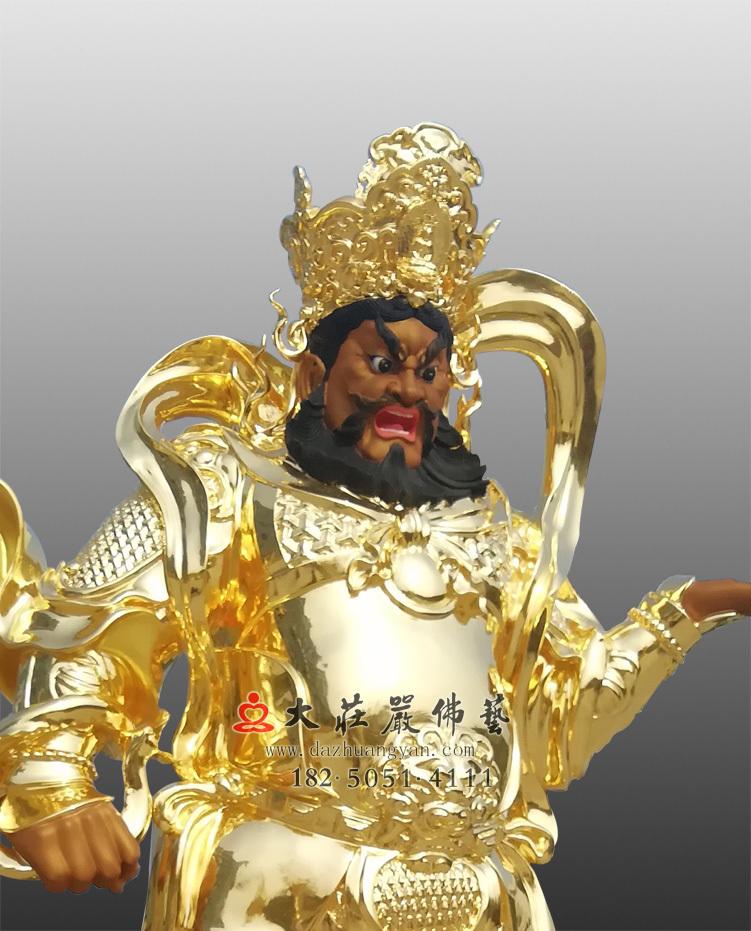 铜雕四大天王之贴金广目天王侧面近照