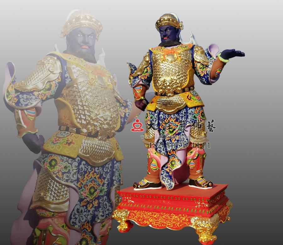 铜雕甲戌神将展子江侧面彩绘神像