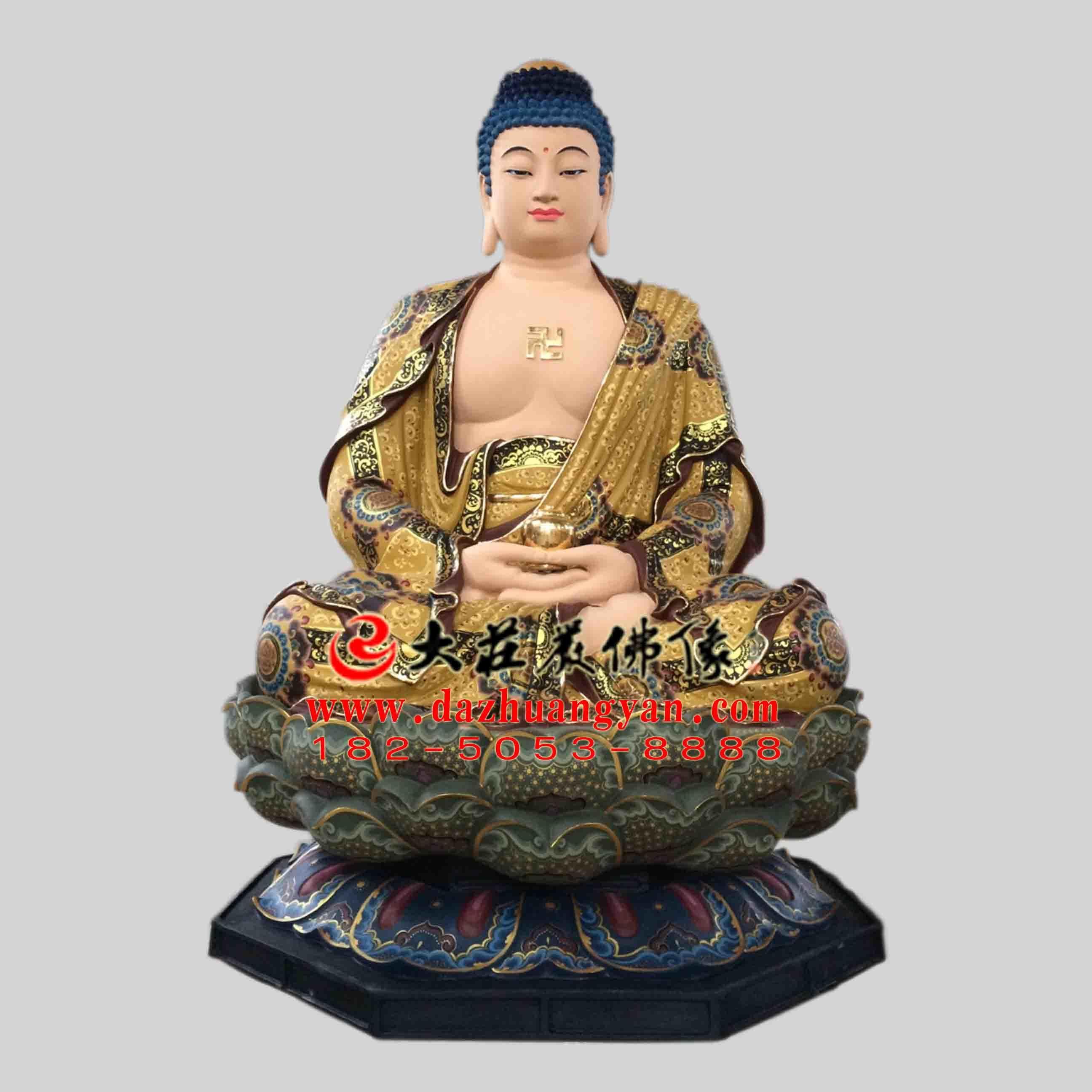 彩绘描金生漆脱胎娑婆三圣之释迦牟尼佛塑像