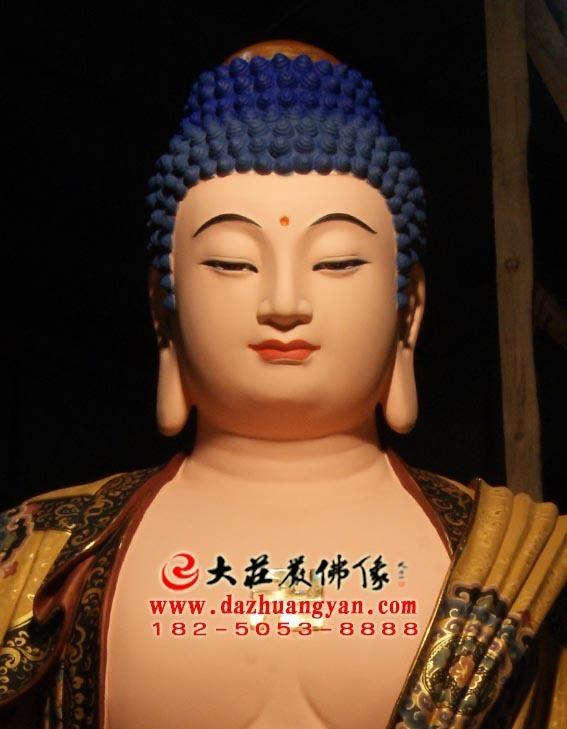 彩绘描金生漆脱胎娑婆三圣之释迦牟尼佛塑像特写