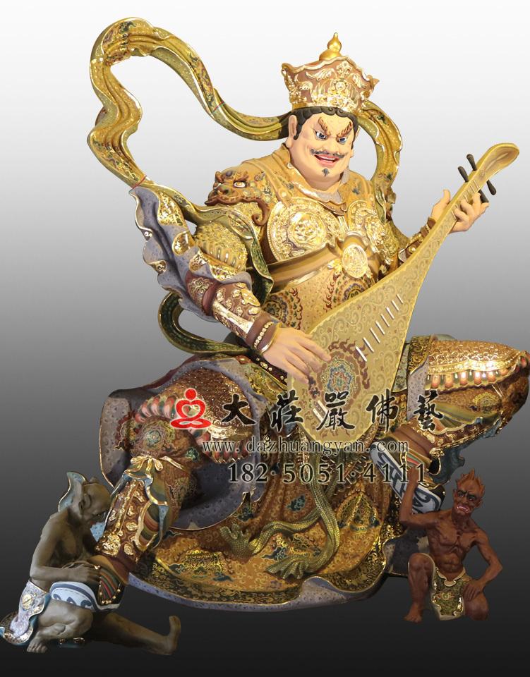 佛教护法神四大天王 彩绘描金东方持国天王佛像雕塑