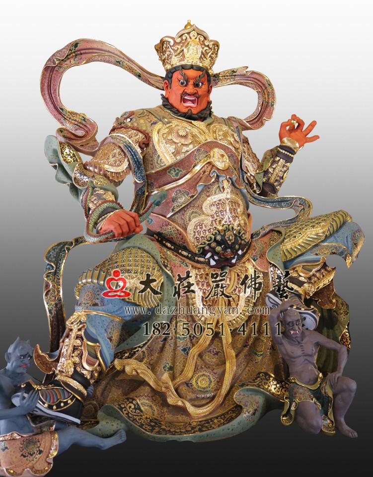 四大天王之西方广目天王彩绘塑像