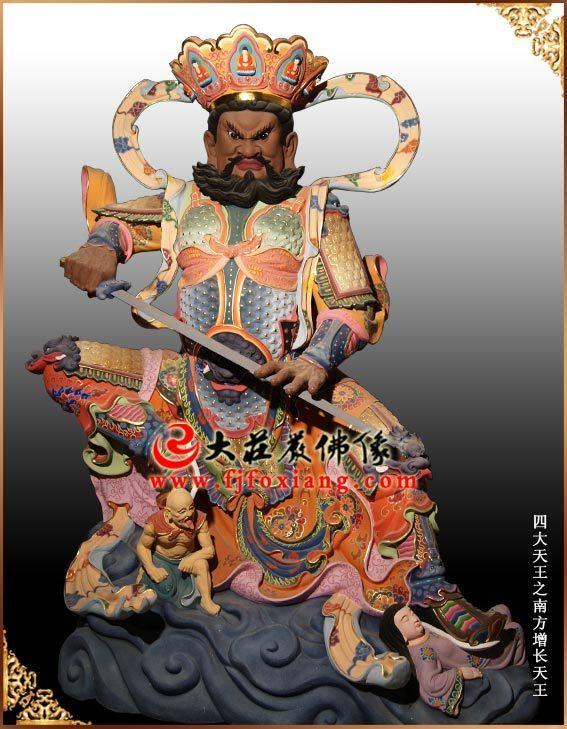 哈尔滨3.3米佛教护法神四大天王彩绘铜佛像 四大金刚佛像雕塑
