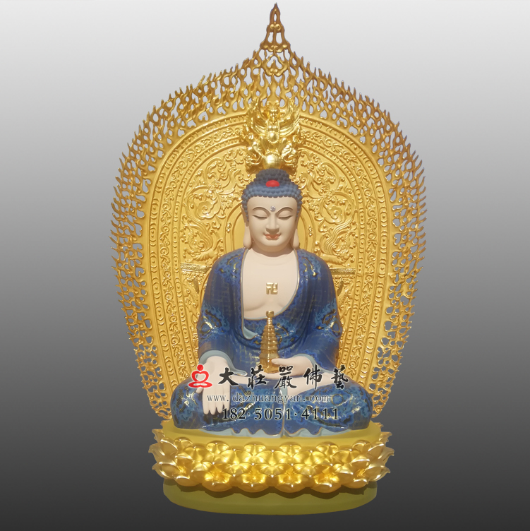 彩绘贴金东方三圣药师佛铜佛像,三宝佛药师如来,佛像雕塑