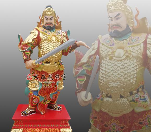 铜雕丁丑神将赵子任彩绘神像