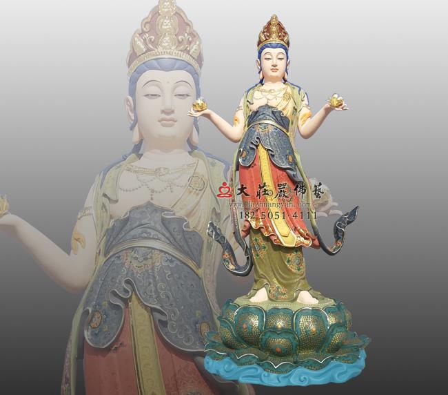 八大菩萨之文殊菩萨彩绘铜佛像,四大菩萨,法王子,诸佛之母,七佛之师,雕塑