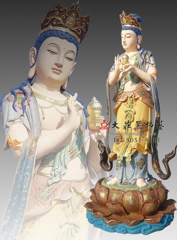铜雕八大菩萨之地藏菩萨彩绘佛像