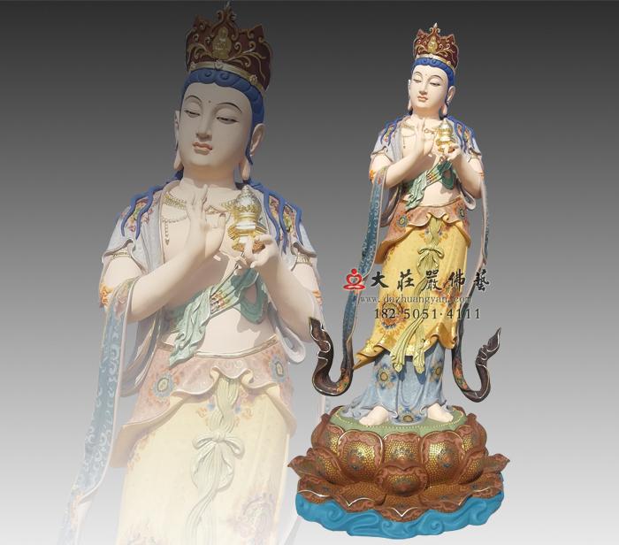 八大菩萨之地藏菩萨彩绘铜雕佛像 地藏王菩萨佛像雕塑