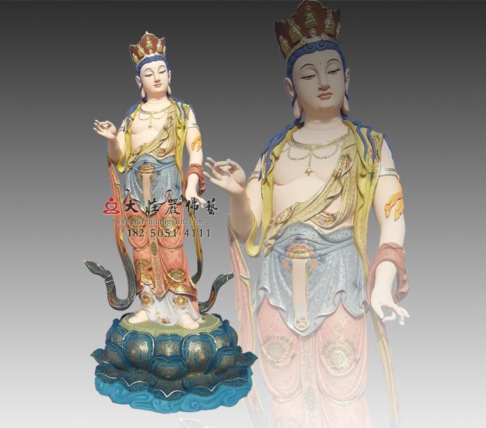 八大菩萨之普贤菩萨彩绘铜雕佛像,华严三圣,遍吉菩萨,佛像雕塑