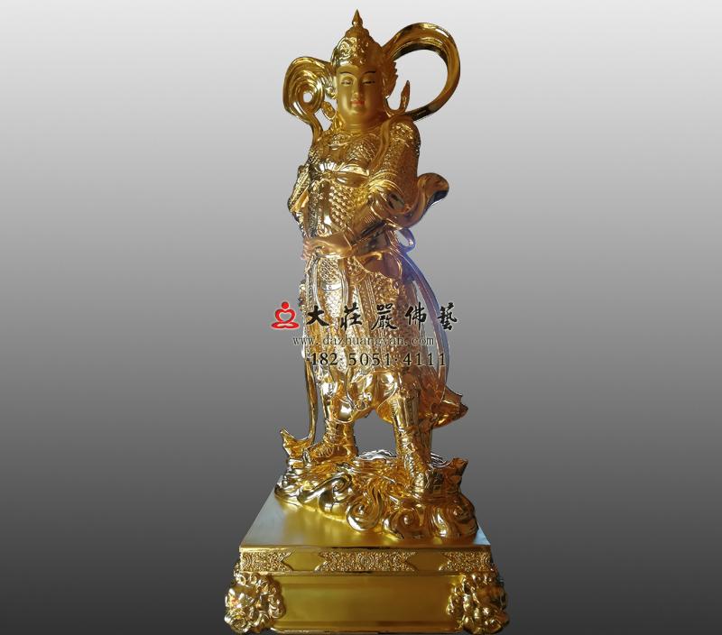 佛教护法神韦驮菩萨贴金佛像韦天将军雕塑