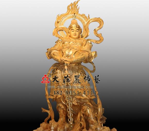 护法天神韦驮菩萨彩绘铜佛像金刚力士韦陀雕塑