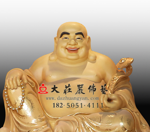 未来之佛大肚弥勒彩绘铜佛像弥勒佛雕塑定做
