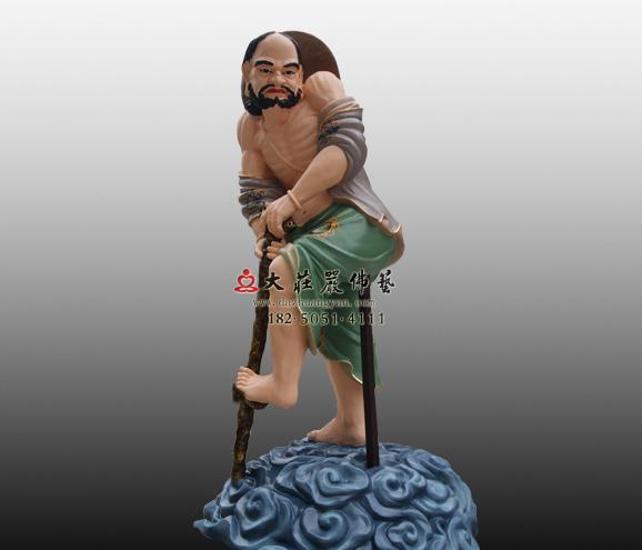 道教神像八仙之首铁拐李彩绘雕塑定制