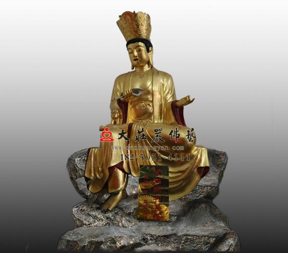 密宗佛像十二圆觉菩萨之文殊菩萨铜像贴金四大菩萨